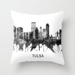 Tulsa Oklahoma Skyline BW Throw Pillow