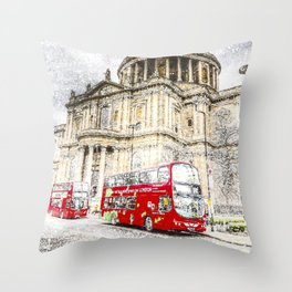 St Paul's Cathedral London Snow Throw Pillow