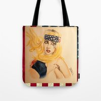 telephone Tote Bags featuring Telephone by Sergiomonster