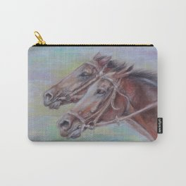 Horse Racing, Portrait of two brown horses, Pastel drawing on gray background Carry-All Pouch