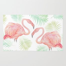 Flamingo Watercolour | Tropical Print | Palm Tree Leaves | Birds | Animals | Painting Rug