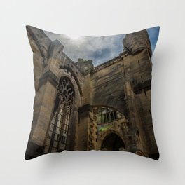 Foreshortening in the medieval town of Narbonne, southern France Throw Pillow