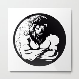 A lion man  fighter black and white Metal Print