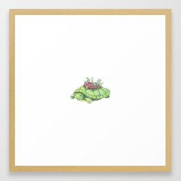 Turtle with Flowers and Flare Framed Art Print