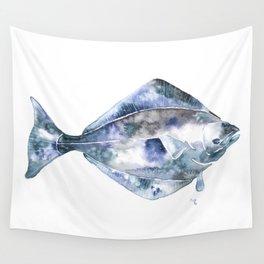Flat Fish Watercolor Wall Tapestry