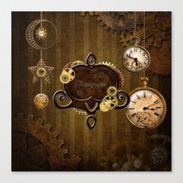 Awesome steampunk design with clocks and gears Canvas Print