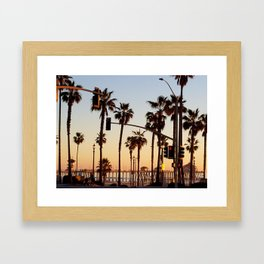 Huntington Beach Summer Sunset at the pier Framed Art Print