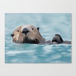 Swimming Otter Canvas Print