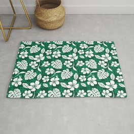 Dark Green & White Hibiscus Aloha Hawaiian Flower Blooms and Tropical Banana Leaves Pattern Rug