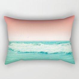 Aqua and Coral, 2 Rectangular Pillow