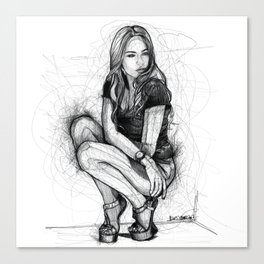 Xenia Tchoumitcheva Squatting Woman Canvas Print
