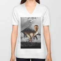 christopher walken V-neck T-shirts featuring ChristopheRAPTOR Walken - Christopher Walken Velociraptor by Kalynn Burke