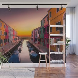 Venice Italy Boats Sunset Photography Wall Mural