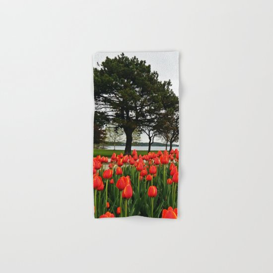 Tulips and the Trees by the Lake Hand & Bath Towel