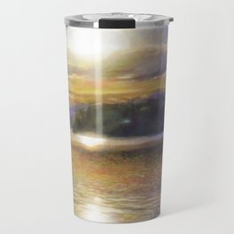 Sun Rising Over Lake - Art Edit Travel Mug