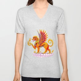 Singha Winged Lion Temple Guardian Unisex V-Neck