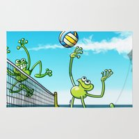 volleyball Area & Throw Rugs featuring Olympic Volleyball Frog by Zoo&co on Society6 Products