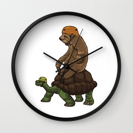 Sloth Rides A Turtle - Speed Is Overrated Wall Clock