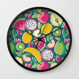 Paper cut geo fruits // teal background multicoloured geometric fruits Wall Clock