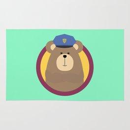 Police Officer Brown Bear in cirlce Rug