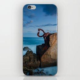 sunrise at the beach, san Sebastian donostia sculpture iPhone Skin