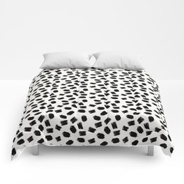 Black white moderm watercolor brushstrokes pattern Comforters