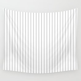Dove Grey Pin Stripes on White Wall Tapestry