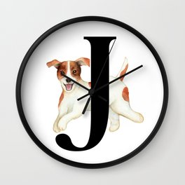 Dog Monogram Collection J Wall Clock