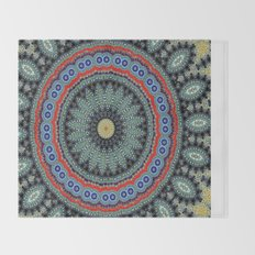 Lovely Healing Mandalas in Brilliant Colors: Black, Wheat, Slate Gray Red and Purple Throw Blanket