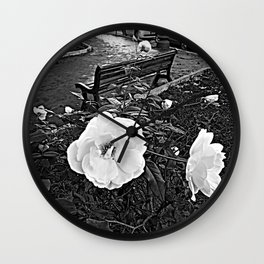 Urban Rosebush Autumnal White Roses Wall Clock