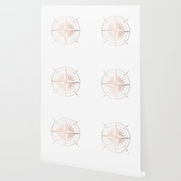 Rose Gold on White Compass Wallpaper