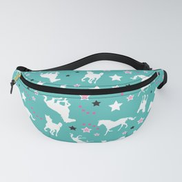 Teal and Pink Horse Equestrian Pattern Horse Lovers Fanny Pack