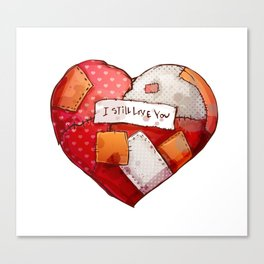 Heart with patches. Valentines day illustration. Canvas Print