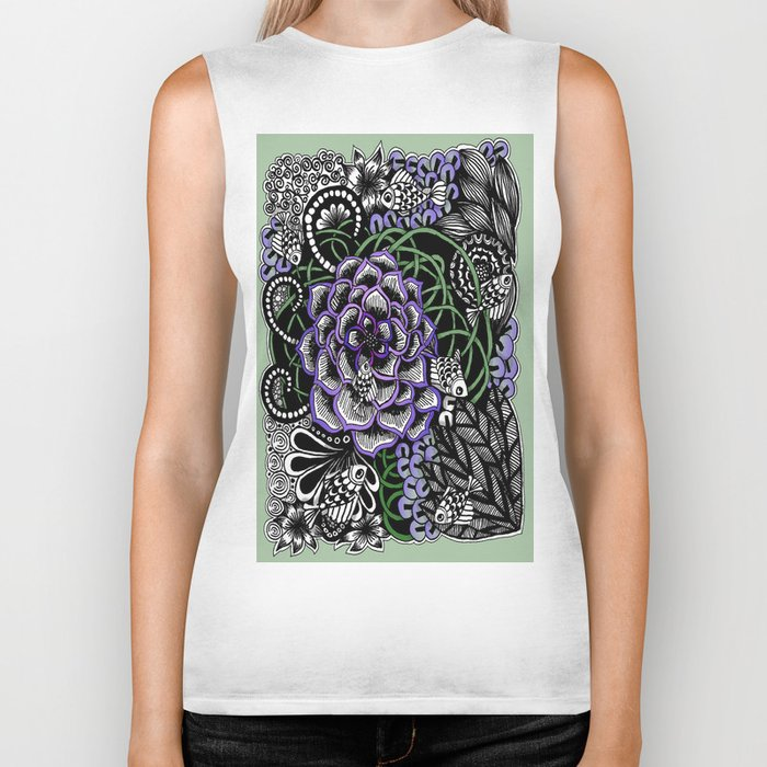 Fishes on a Coral Reef Greens - Zentangle Illustration Biker Tank