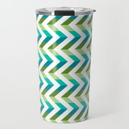 Chevron Picnic Time - Geometric pattern with blue and green Travel Mug
