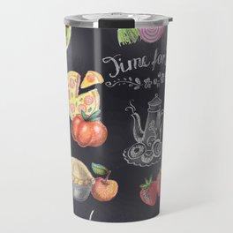 Doodle vegetables  pattern andsnacks on a blackboard background - frame. Travel Mug