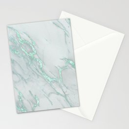 Marble Love Mint Metallic Stationery Cards