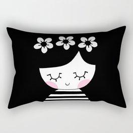 Monochrome girl with three flowers Rectangular Pillow