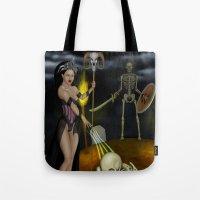 skeleton Tote Bags featuring Skeleton by Egberto Fuentes