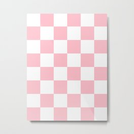 Large Checkered - White and Pink Metal Print