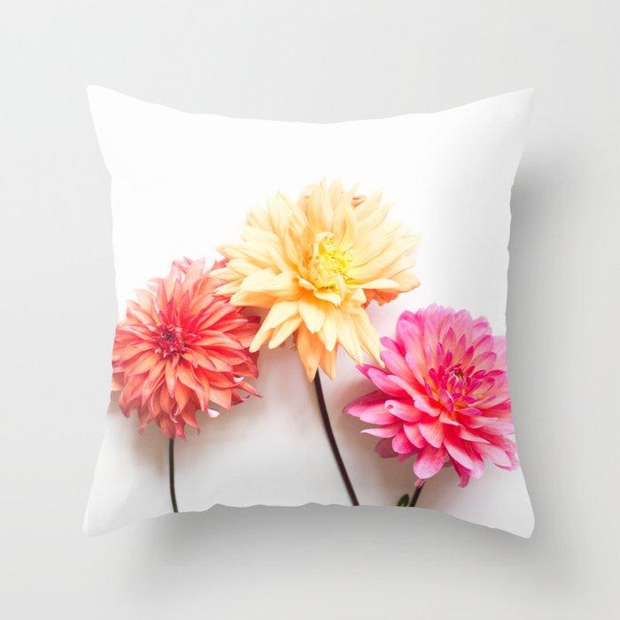 Three Dahlias in the Fall Throw Pillow