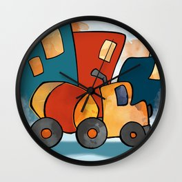 Cement Mixer, Construction Truck, Perfect for Child's Bedroom or Kid's Playroom Wall Clock