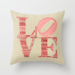 Sonnet 116 Love Is Not Love Shakespeare Word Cloud Shape Throw Pillow