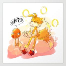 Tails and Q*bert Art Print