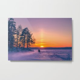 The snow mobile race toward the Sun pillar Metal Print