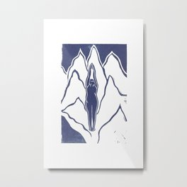 Mountain Pose (White) Metal Print