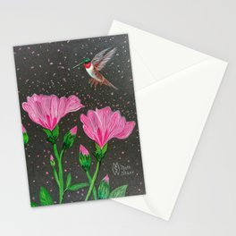 Red-Throated Hummingbird in the Azalea Flowers Stationery Cards