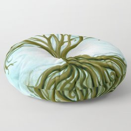 Blue and Brown Swirly Tree of Life by Renee Womack Floor Pillow