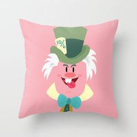 mad hatter Throw Pillows featuring Mad hatter by Maria Jose Da Luz