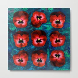 9 red on blue & green Metal Print